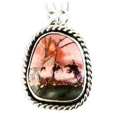 Ocean Jasper Sterling Silver Pendant Necklace