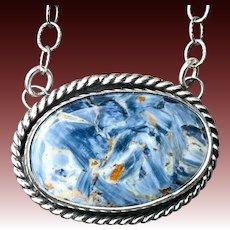 Blue Pietersite Sterling Silver Pendant Necklace