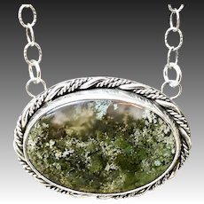Indonesian Scenic Moss Agate Sterling Silver Pendant Necklace