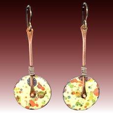Yellow Splatter Enamel Earrings