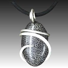 Black Fossil Coral Sterling Silver Wrapped Pendant Necklace
