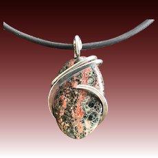 Leopard Jasper Wire Wrapped Pendant Necklace