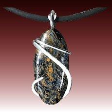 Pietersite Sterling Silver Wire Wrap Pendant Necklace
