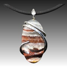 Crazy Lace Agate Sterling Silver Wire Wrap Pendant Necklace