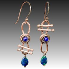 Azurite-Malachite And Lapis Copper Asymmetrical Earrings