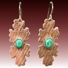 Malachite Copper Earrings, Handmade Earrings Dangle