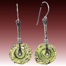 Green Lampwork Glass Dangle Earrings