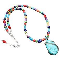 Southwest Multi Colored Turquoise Lapis Coral Pendant Necklace