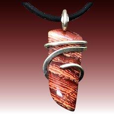 Snakeskin Jasper Sterling Silver Wire Wrap Pendant Necklace For Men Women
