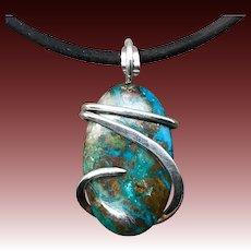 Azurite Chrysocolla Sterling Silver Wire Wrap Pendant Necklace For Men Women