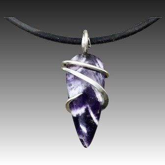 Chevron Amethyst Wire Wrapped Pendant Necklace For Men Women