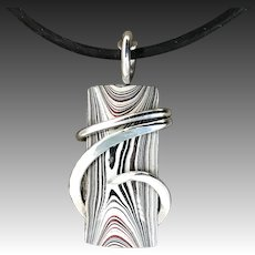Fordite Sterling Silver Wire Wrap Pendant Necklace