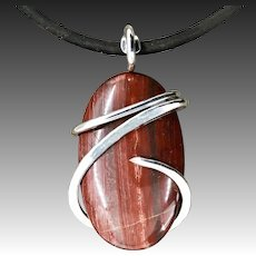 Snakeskin Jasper Sterling Silver Wire Wrapped Pendant Necklace For Men Women