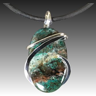Turquoise Chrysocolla Sterling Silver Wire Wrap Pendant Necklace