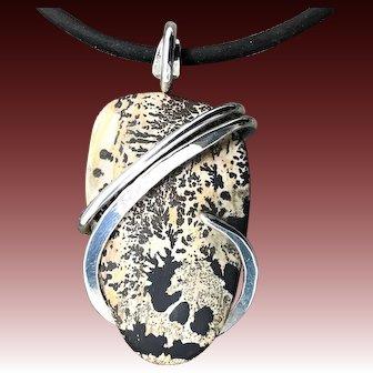 Indian Paint Jasper Sterling Silver Wire Wrap Pendant Necklace