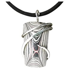 Fordite Detroit Agate Sterling Silver Wrap Pendant Necklace
