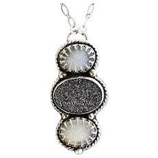 Druzy Quartz Sterling Silver Pendant Necklace