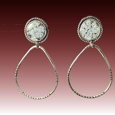 Lavender Turquoise Sterling Silver Hoop Earrings