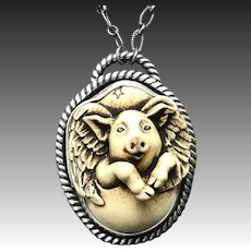 When Pigs Fly Sterling Silver Pendant Necklace