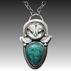 Amazonite Owl Sterling Silver Pendant Necklace
