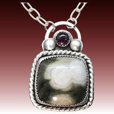 Ocean Jasper Garnet Sterling Silver Pendant Necklace