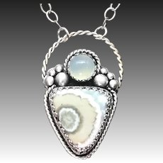 Ocean Jasper Sterling Silver Pendant Necklace