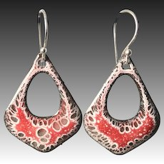 Red And White Abstract Enamel Earrings