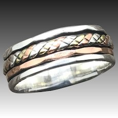 Copper And Sterling Silver Spinner Ring For Men And Women