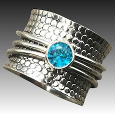 Sterling Silver Blue Topaz Quartz Spinner Ring