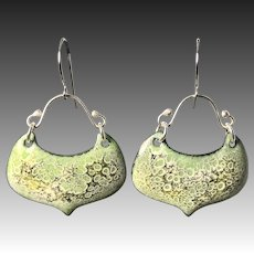 Green Enamel Sterling Silver Earrings