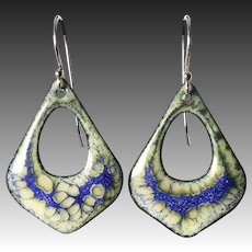 Yellow And Blue Sterling Silver Enamel Earrings