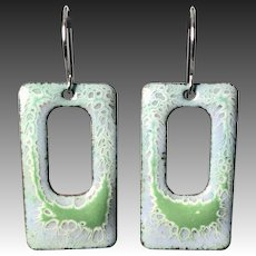 Blue And Green Textured Enamel Earrings