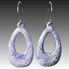Blue And White Abstract Enamel Earrings