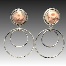 Birds Eye Rhyolite Sterling Silver Post Earrings