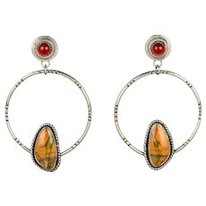 Red Creek Jasper Sterling Silver Post Hoop Earrings