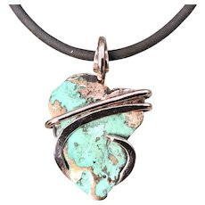 Sculptured Copper Wrapped Pendant Necklace