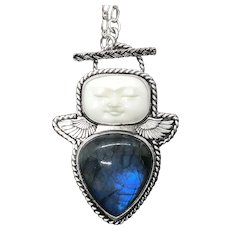 Blue Labradorite Sterling Silver Man In The Moon Pendant Necklace