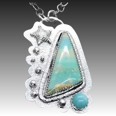 Blue Opal Petrified Wood Sterling Silver Pendant Necklace
