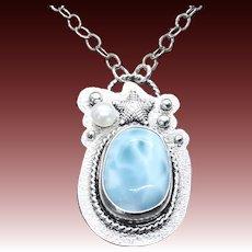 Larimar FreshWater Pearl Starfish Pendant Necklace
