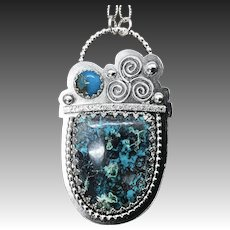 Azurite Turquoise Sterling Silver Pendant Necklace
