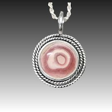 Pink Rhodochrosite Sterling Silver Pendant Necklace