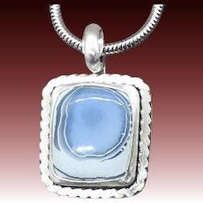 Owyhee Blue Opal Sterling Silver Pendant Necklace