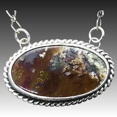 Indonesian Moss Plume Agate Sterling Silver Pendant Necklace