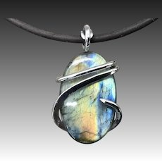 Labradorite Sterling Silver Pendant Necklace