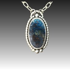 Azurite Sterling Silver Pendant Necklace
