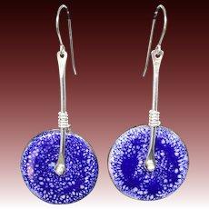 Blue Enamel Dangle Earrings