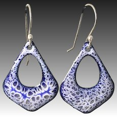 Blue And White Enamel Earrings