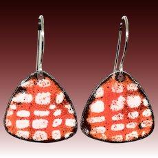 Red Polka Dot Enamel Earrings