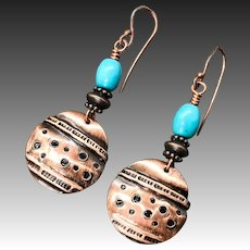 Copper And Turquoise Handmade Earrings