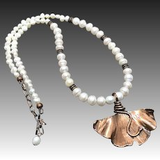 Freshwater Pearl Necklace With Copper Ginkgo Leaf Pendant